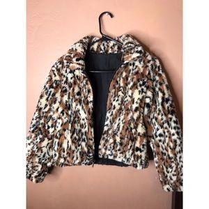 Jackets & Blazers - Leopard Faux Fur Zip-Up Womens Jacket